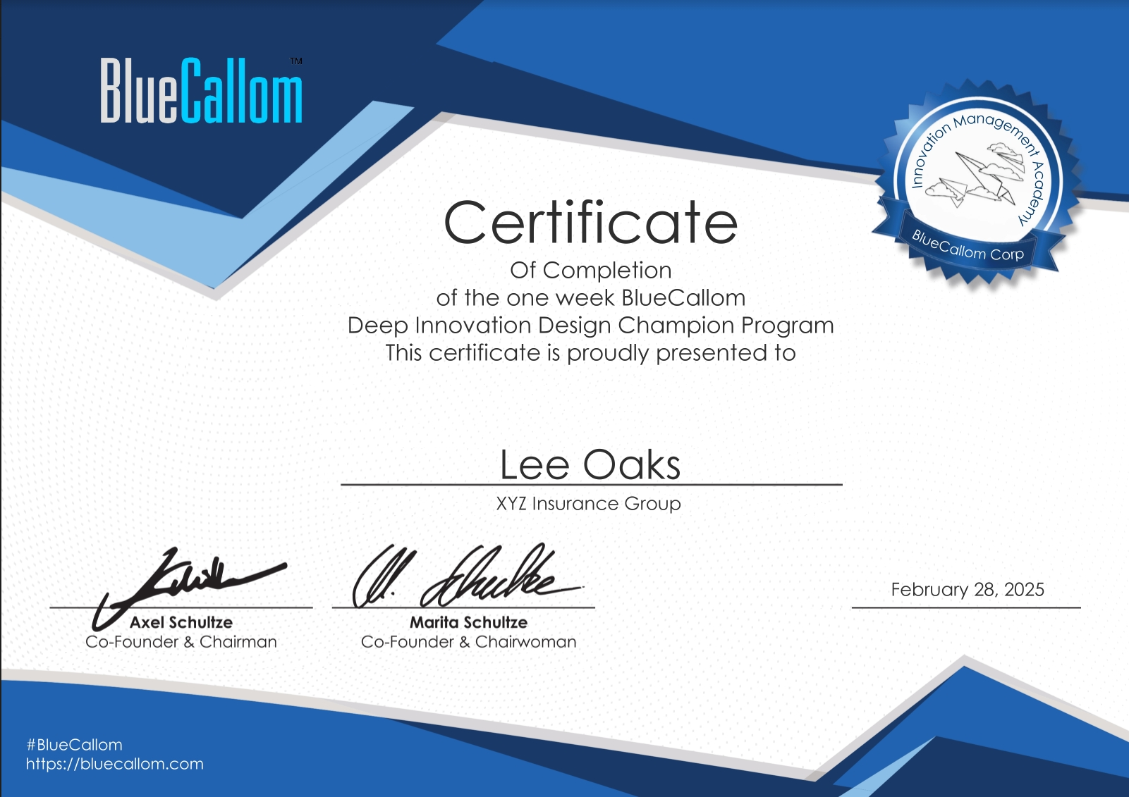 Certificate for BlueCallom Certified Champion - BCDC Training